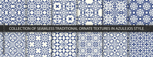 Obraz na plátně Set of Indigo blue flower azulejos lisbon patterns