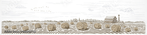 Fotografia Autumn rural landscape in panoramic format with a farm and bales of hay in the foreground