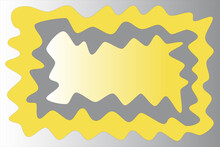 Bright Illuminating Yellow Frame Of Wavy Shape On Ultimate Gray Background. Trend Color 2021. Copy Space. Banner For Your Text. Abstract Gradient Backdrop. Graphic Card. Rectangular Border. Decorative