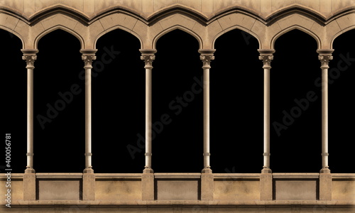 Fotografering Elements of architectural decoration of buildings, arches and colonnades, columns and capitals, patterns and stucco molding