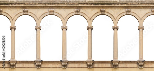 Foto Elements of architectural decoration of buildings, arches and colonnades, columns and capitals, patterns and stucco molding