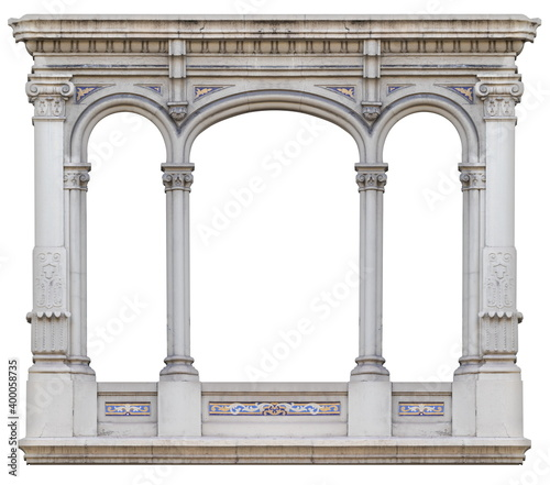 Canvas Elements of architectural decoration of buildings, arches and colonnades, columns and capitals, patterns and stucco molding