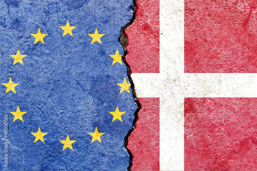 Wallpaper Mural EU and Danish flag on a cracked wall-politics, war, conflict concept