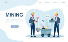 Male Characters Coal Mining. Men In Uniform With Shovel And Dolly Working Underground. Concept Of Extraction Industry. Website, Web Page, Landing Page Template. Flat Cartoon Vector Illustration