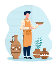 Professional Male Potter Master Standing And Holding Plates He Made In A Workshop. Concept Of Handmade Ceramics Creation. Flat Cartoon Vector Illustration