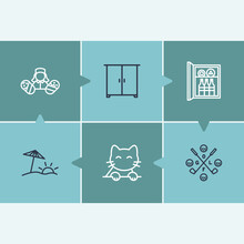 Hotel Service Icon Set And Pet Friendly With Baby Sitting, Minibar And Wardrobe. Golfing Related Hotel Service Icon Vector For Web UI Logo Design.
