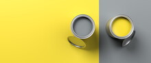 Paint Pots In The Colors Of The Year 2021 Illuminated Yellow And Ultimate Gray. Both Colors Also Used On The Split Surface Area. Web Banner Size