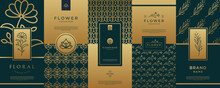 Collection Of Luxury Logo Gold Packaging.