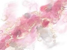 Purple Watercolour Blotch. Romantic Alcohol Ink Texture. Rose Watercolor Spread. Background Makeup. Pastel Color Marbling. Gold Oil Stroke. Paint Mixing.