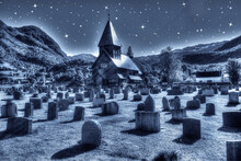 Old Historic Scottish Cemetery With Ancient Graves In A Grass Field At Night. Roman Wooden Church In The West Scottish Highlands, Scotland, United Kingdom.