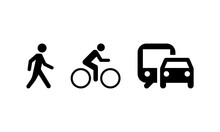 Types Of Movement And Transport Icon Set. On Foot By Bike And By Car Or By Public Transport. Vector EPS 10