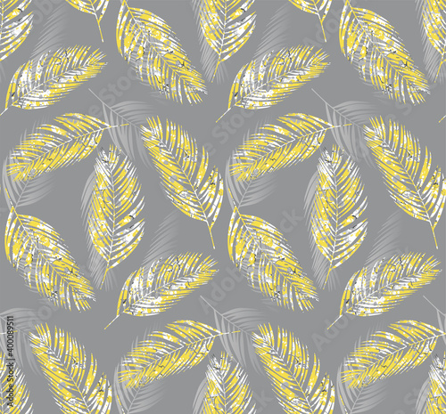 tropical-palm-leaves-seamless-pattern-illuminating-yellow-color-marbling-effect-ultimate-gray-background-vector-illustration-fashion-interior-wrapping