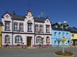Mesto Albrechtice - Main square with Town Hall in Town Albrechtice, Jeseniky mountains area. The Town Albrechtice lies northwest of Krnov, Czech Rebublic