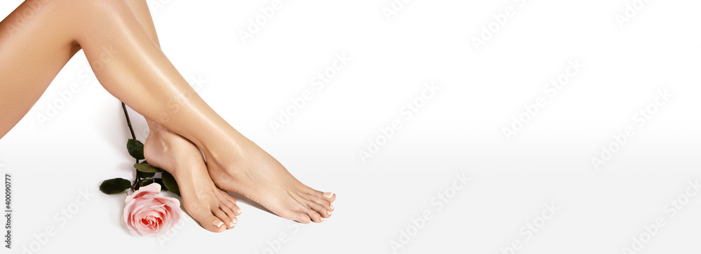 Fototapeta Beautiful legs after depilation. Healthcare, foot care, rutine treatment. Spa and epilation. Sexy shape of womans body