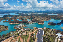 View Of The Guatape Reservoir From The Penol Stone Where You Can Climb Stairs