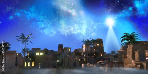The star shines over the manger of christmas of Jesus Christ, 3d render Fotobehang