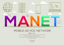 MANET Mean (Mobile Ad Hoc Network) Computer And Internet Acronyms ,letters And Icons ,Vector Illustration.