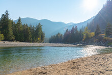 View Of Sandy Beach And Similkameen River On A Sunny Day At Bromley Rock Provincial Park