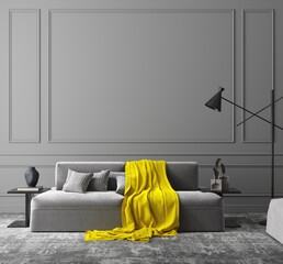 Elegant dark grey interior, colors of the year 2021, 3d render