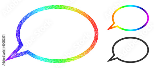 Rainbow colorful wire frame hint cloud, and solid rainbow gradient hint cloud icon Wallpaper Mural