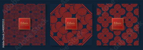 Fototapeta Red and Blue Chinese Pattern obraz