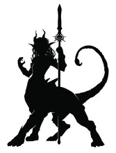Black Silhouette Of A Chimera Girl With The Horns Of A Lion's Body, And The Tail Of A Scorpion, She Has A Symmetrical Spiked Spear In Her Hands. 2d Illustration.