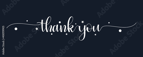 Thank You Text Handwritten Calligraphy Lettering Isolated On Black Background Ve Fotobehang
