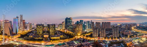 Obraz Aerial photography of Hangzhou city modern architectural landscape night view - fototapety do salonu