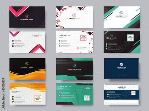 Fotografia, Obraz Set Of Editable Business Or Visiting Card In Front And Back View.