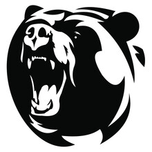 Bear Head Vector On Black And White Background