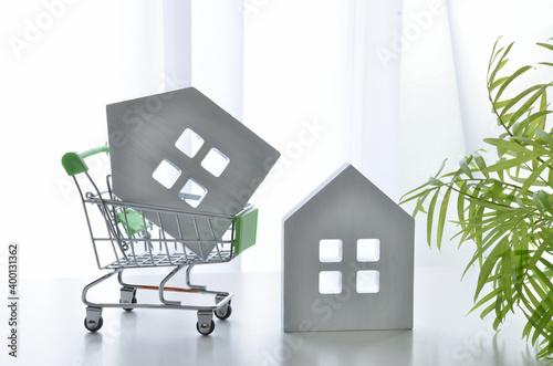 Fotografía Shopping cart and white house