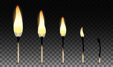 Set Of Vector Matches. Stages Of Burning The Match. Simple Symbol Of Ignition, Burning And Withering. Isolated On Transparency Grid Background.
