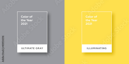 Fototapeta Color Of The Year 2021. Ultimate Gray. Illuminating. Vector illustration obraz