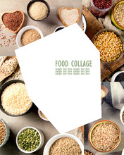 Collage Of Ancient Grains, Seeds, Beans