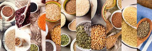 Fototapeta Collage of ancient grains, seeds, beans obraz