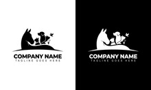 Vector Illustration Of Creative Logo Design Graphics. Horse, Dog, Cat, Rabbit And Bird Vector Template On Black And White Background