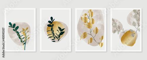 Obraz Botanical and gold abstract wall arts vector collection.  Golden and luxury pattern design with leaves line arts, Hand draw Organic shape design for wall framed prints, canvas prints, poster, home dec - fototapety do salonu