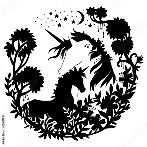 Canvas black silhouette cute unicorn and foal kids coloring page line art illustration