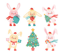 New Year Collection Happy Baby Rabbits In Santa Hat With A Christmas Tree, Gifts, And A Candy Cane. Christmas Funny Cartoon Animals. Cute Bunnies Having Fun On Winter Holiday. Vector Flat Illustration
