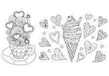 Cute Hot Coffee And Ice Cream Cone Kids Coloring Page Line Art Illustration Vector