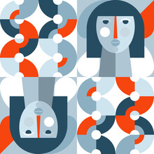 Geometric Vector Seamless Pattern In Retro Style . Modern Background With Circles, Semicircles And Stylized Female Face In Scandinavian Design Style,
