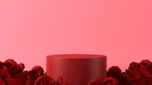 Pink Podium In Love Theme Background With Decorations