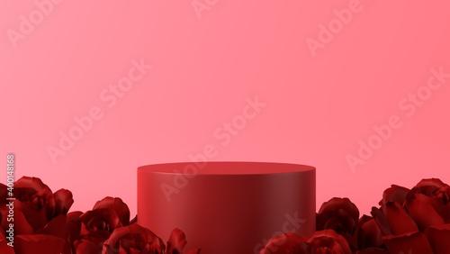 Obraz pink podium in love theme background with decorations - fototapety do salonu