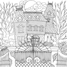 Haunted House Kids Coloring Page Line Art Illustration Vector
