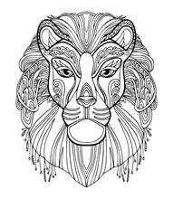 Lion Coloring Kids Coloring Page Line Art Illustration Vector