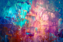 Bright Multi-colored Background, Paint Strokes With A Palette Knife. Acrylic And Oil Paints.
