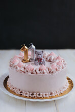Cake With Pink Cream And Teddy Bear For A Girl Of 11 Years Old
