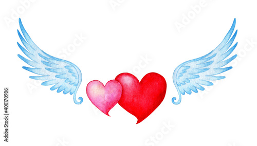 Watercolor illustration of two hearts pink and red with angel wings Fototapete
