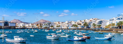 Obraz Landscape with Arrecife, capital of Lanzarote, Canary Islands, Spain - fototapety do salonu