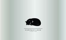 SLEEPING CAT Abstract Logo Design